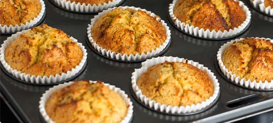 Mini apple and banana muffins