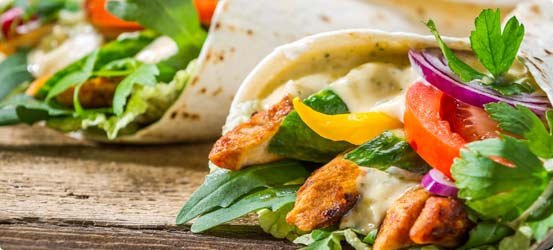 Tasty chicken wraps
